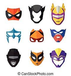 appartamento, differente, stile, maschere, vettore, kids., illustrazioni, superheroes