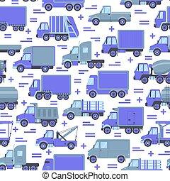 appartamento, differente, trasporto, camion, modello, seamless, stile, tipi