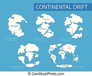 appartamento, differente, vettore, presente, continents.,...