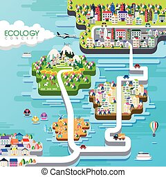 appartamento, disegno, concetto, ecologia