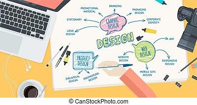 appartamento, disegno, concetto, per, disegno