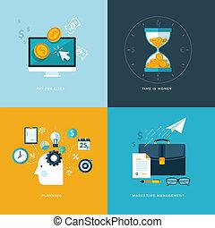 appartamento, disegno, concetto, set, icone