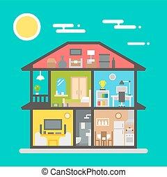 Appartamento disegno interno casa vista laterale for Disegno interno casa