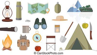 appartamento, disegno, isolato, oggetti, di, montagna, camping., vettore, collection.