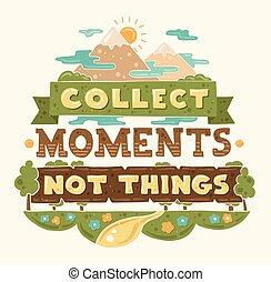 appartamento, disegno, momenti, citazione, moderno, illustrazione, raccogliere, hipster, cose, non, frase