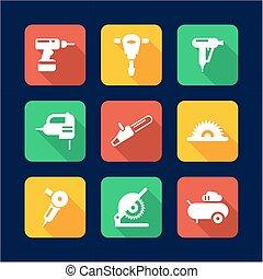 appartamento, disegno, motorizzi attrezzi, icone