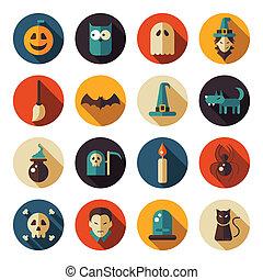 appartamento, disegno, set, halloween, icone