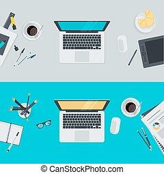 appartamento, disegno, workspace, concetti