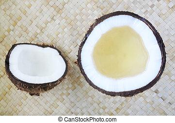 appartamento, disposizione, di, aperto, palma noce cocco, frutta, con, noce di cocco, olio, in, esso