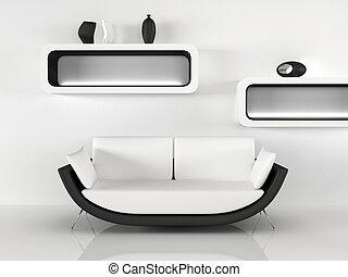 appartamento, divano, moderno, decorazione, interior., minimalismo