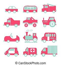 appartamento, divertente, treno, vendemmia, set., trasporto, automobile, camion, ambulanza, cartone animato, strada, icona
