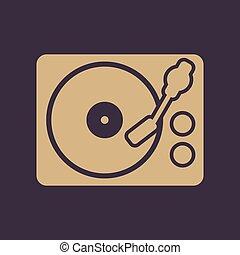 appartamento, dj, simbolo., giocatore, piattaforma girevole,...