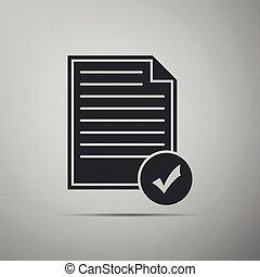 appartamento, documento, affari, lista, concept., grigio, illustrazione, isolato, fondo., vettore, icona, icon., marchio, assegno, design.