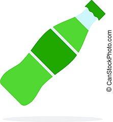 appartamento, dolce, vettore, isolato, bevanda, bottiglia, plastica, verde