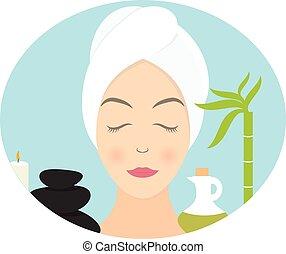 appartamento, donna, asciugamano, illustrazione, vettore, disegno, spa.