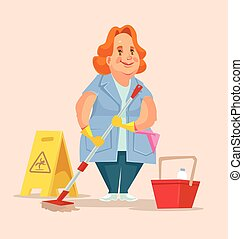 appartamento, donna, character., lavoratore, illustrazione, vettore, personale pulizia