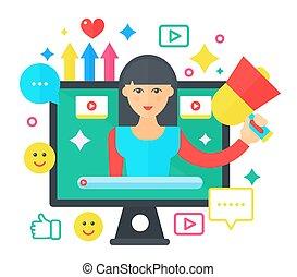 appartamento, donna, computer, illustration., personale, blogger, concept., blogger., radiodiffusione, vettore, video, femmina, schermo, cartone animato, blogging, canale