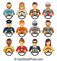 appartamento, donna, icone, driver, vettore, uomo