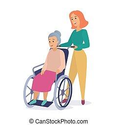 appartamento, donna, illustration., carrozzella, lavoratore, passeggiata, nonna, vettore, invalido, sociale