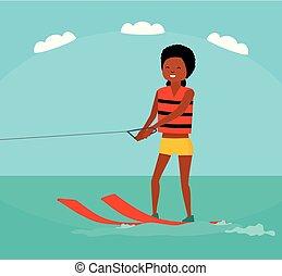 appartamento, donna, illustration., estate, tour., waterski., vacanza, americano, vettore, mare, family., sentiero per cavalcate, cartone animato, africano