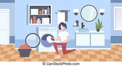 appartamento, donna, lavaggio, stanza, moderno, carattere, ...