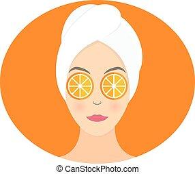 appartamento, donna, lei, maschera, illustrazione, vettore, disegno, arancia, eyes.