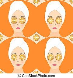 appartamento, donna, lei, modello, maschera, seamless, illustrazione, vettore, disegno, arancia, eyes.