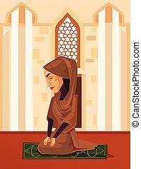 appartamento, donna, musulmano, carattere, illustrazione, vettore, mosque., pregare, cartone animato