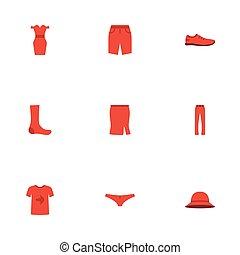 appartamento, donna, pantaloni, elements., icone, tronco, objects., gonna, include, simboli, anche, vettore, abbigliamento, pantaloni, set, vestire, altro, nuoto