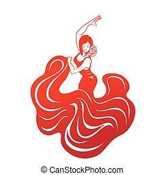 appartamento, donna, silhouette, atteggiarsi, flamenco, espressivo
