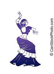 appartamento, donna, silhouette, pose., ballo, espressivo