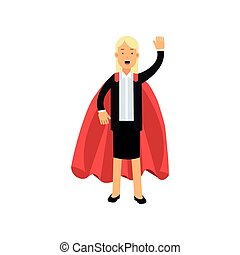appartamento, donna, superhero, signora affari, mano., squadra, carattere, mantle., illustrazione, allegro, leader., vettore, nero, biondo, completo, ondeggiare, gonna, cartone animato, rosso