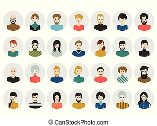 appartamento, donna, teste, persone, icons., faccia, avatar., vector., uomo, style.