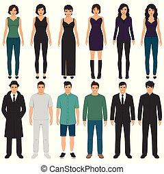 appartamento, donna, ufficio, persone affari, gruppo, caratteri, squadra, uomo