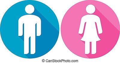 appartamento, donna, &, (wc, sign), icona, uomo