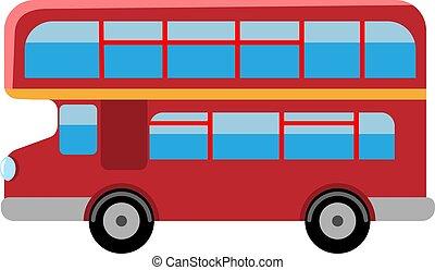 appartamento, doppio, illustrazione, decker, vettore, bus., retro, londra, rosso