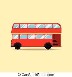 appartamento, doppio, illustrazione, decker, vettore, disegno, autobus