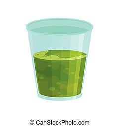 appartamento, drink., organico, spirulina, smoothie, seaweed., vetro, vettore, verde, beverage., fresco, saporito, nutrition., sano