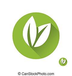appartamento, ecologia, foglia, foglie, isolato, icons., verde, emblema