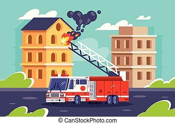 appartamento, edifici., mette, fuoco, automobile, stazione, fiamma, fuori