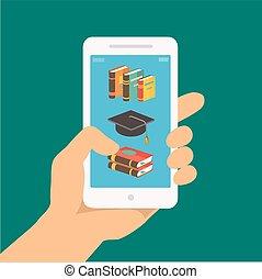 appartamento, educativo, concetto, mobile, app, screen., mano, telefono, vettore, distante, presa a terra, linea, e-imparando, educazione, style.