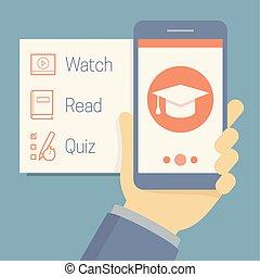 appartamento, educativo, icone concetto, mobile, app, educazione, lato, telefono, vettore, presa a terra, linea, schermo, mano, opzioni, stile