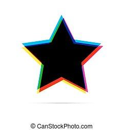 appartamento, effetto stella, cmyk, compensazione, shadow., icona