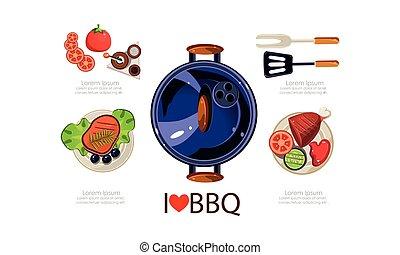 appartamento, elementi, icone, set, menu, cuocere, apparecchiatura, cibo, vettore, disegno, illustrazione, cotto ferri, barbecue