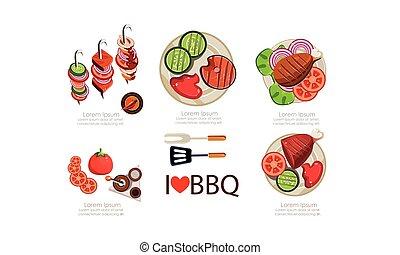 appartamento, elementi, icone, set, menu, illustrazione, cibo, vettore, disegno, fondo, cotto ferri, barbecue, bianco