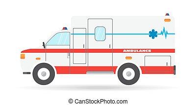appartamento, emergenza, auto, veicolo, illustrazione, vettore, ambulanza, icona, automobile
