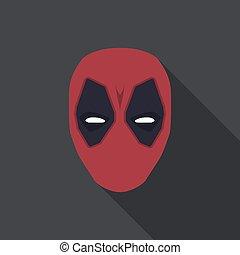 appartamento, eroe, maschera, colour., illustrazione, vettore, super, rosso, design.