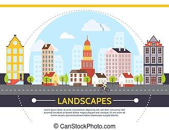 appartamento, estate, cityscape, sagoma