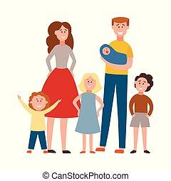 appartamento, esteso, leva piedi, famiglia, insieme, vettore, felice
