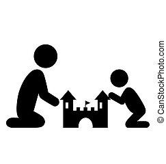 appartamento, famiglia, isolato, sabbia, pictograms, castello, bianco, icona